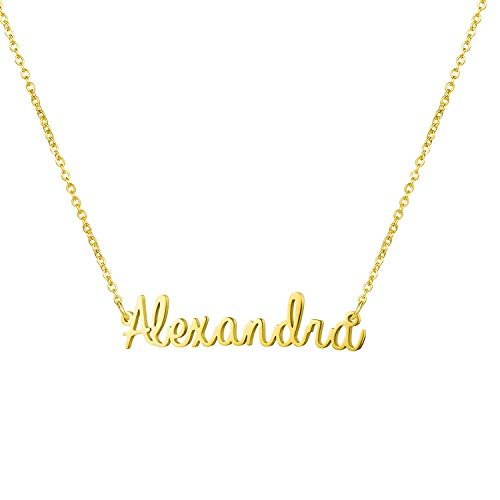 Yiyang Personalized Name Necklace 18K Gold Plated Stainless Steel Jewelry Birthday Gift for Girls Alexandra