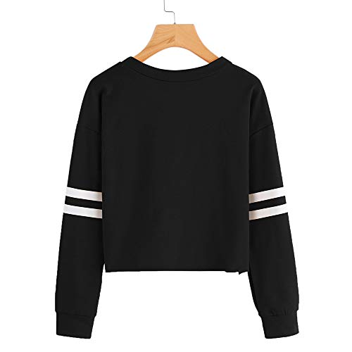 Tops Neck Blouse Stripe Long Womens Sweatshirt Black Round Morwind Printing Sleeve gBpZqAwz