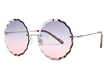 Flower round Polygon Sunglasses Oversized Rimless Diamond Cutting Lens grey and pink Sun Glasses for women