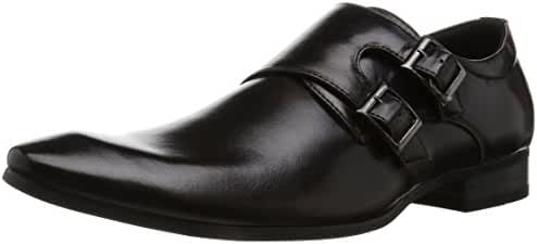MM/ONE Mens Double Monk Strap Plain Toe Slip On Dress Shoes Black Brown