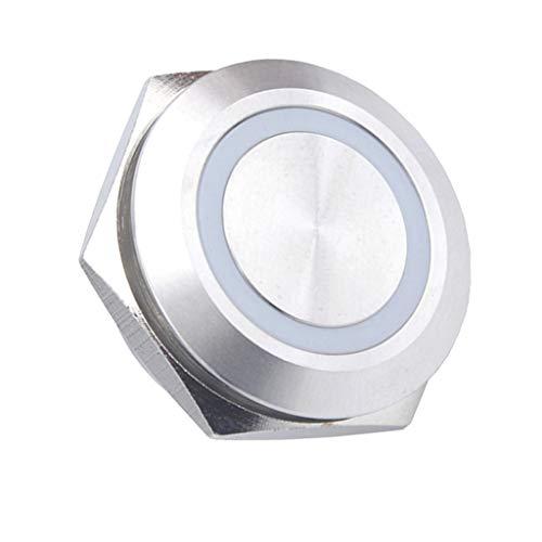 D DOLITY 25mm 12Vは瞬間的な再設定可能な押しボタンスイッチ青いLEDライトを防水します