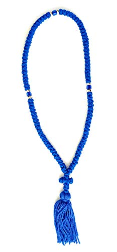Iconsgr Handmade Christian Orthodox Komboskoini, Prayer Rope 100 Knots Blue/blue Beads ()