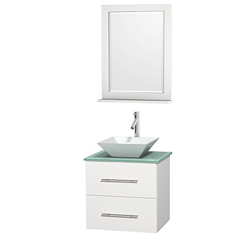 Wyndham Collection Centra 24 inch Single Bathroom Vanity in Matte White, Green Glass Countertop, Pyra White Porcelain Sink, and 24 inch Mirror by Wyndham Collection