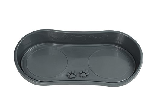 Because of Paws Non-Skid Pet Bowl Tray with 2 Slow Down Bowls Set - For Small to Medium Dogs - Protects Floor from Food and Water