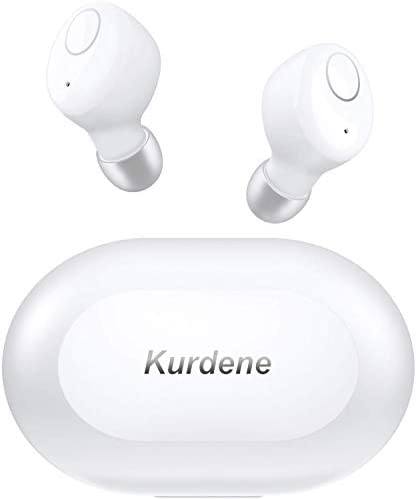 Kurdene Small Wireless Earbuds,Bluetooth Earbuds with Charging Case Bass Sounds IPX8 Waterproof Sports Headphones with Mic Touch Control 24H Playtime for iPhone/Samsung/Android -White
