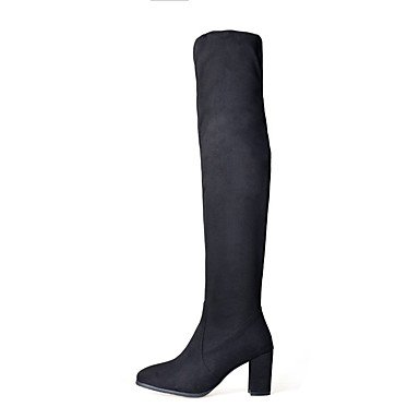 Black Toe Dress Nubuck UK8 Fashion 5 Round Almond Boots 5 Casual Leather Women'S RTRY EU42 High Thigh Shoes Boots Winter CN43 Chunky For Boots US10 Heel TEgqXHxPwn