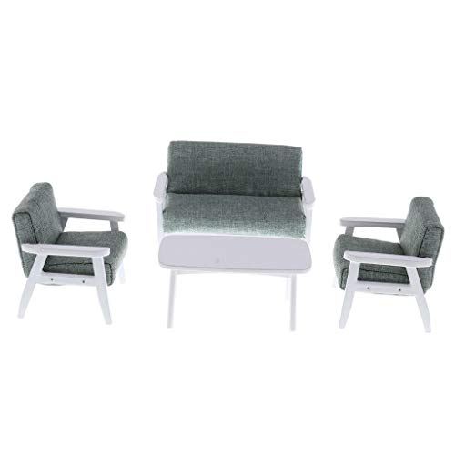 Brosco Miniature Sofa Couch End Table Set 1:12 Dolls House Furniture Model Green from Brosco
