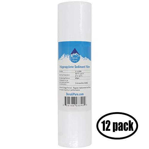12-Pack Replacement Aqua Pure AP101T Polypropylene Sediment Filter - Universal 10-inch 5-Micron Cartridge for Aqua Pure AP101T Whole House Water Filter - Denali Pure ()