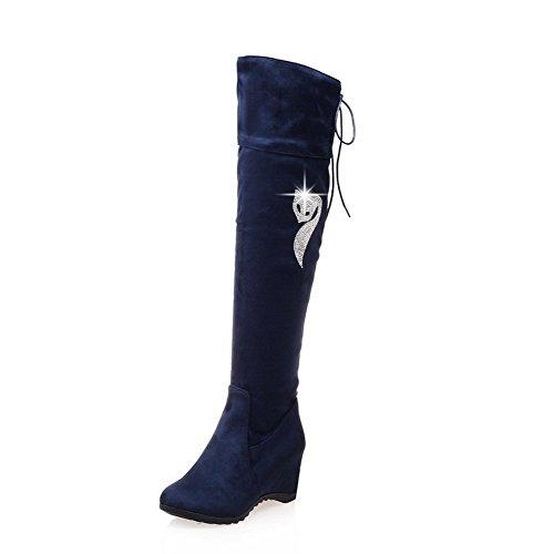 AgooLar Damen Überknie Hohe Stiefel Rein Ziehen auf Rund Zehe Mittler Absatz Stiefel Blau