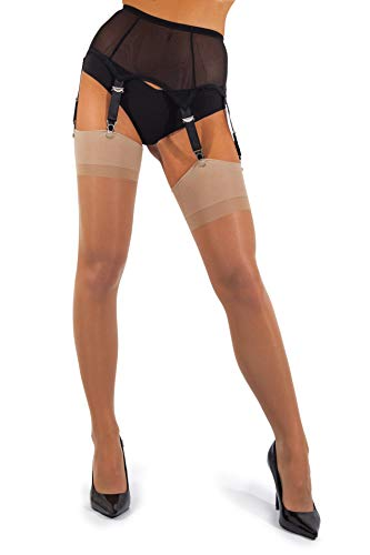 sofsy Sheer Thigh High Stockings for Women's Garter Belt/Suspender Belt | 15 Den [Made in Italy] (Garter Belt Not Included) - Natural - - Lightweight Stockings