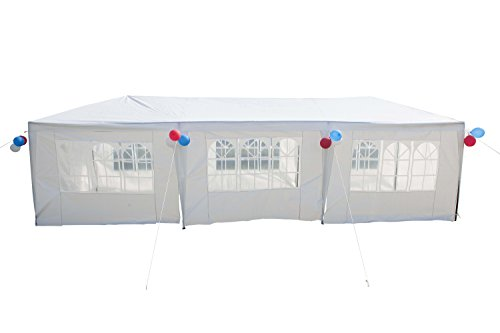GOJOOASIS Improved Version Canopy Tent Wedding Party Tent with Metal Connectors Outdoor Gazebo White 10' x 30' with 8 Walls ()