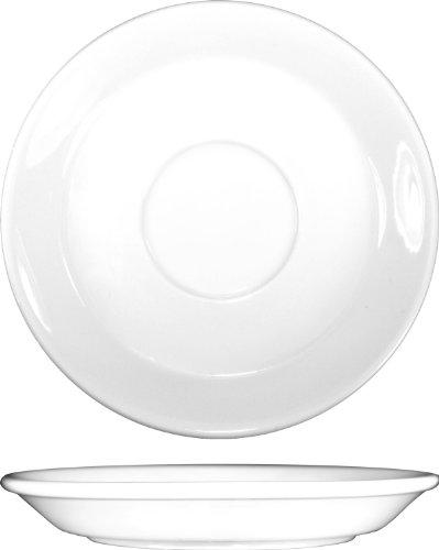 ITI BL-2 Bristol Porcelain 6-1/8-Inch Fine Porcelain Saucer, Bright White, 36-Piece