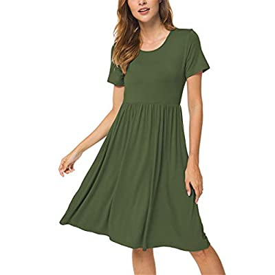 DB MOON Women Summer Casual Short Sleeve Dresses Empire Waist Dress with Pockets at Women's Clothing store