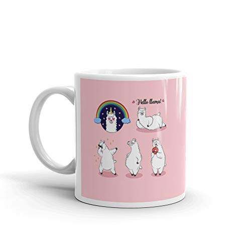 Cute Lama Doodle Collection Of Cartoon Characters Stickers Patches Milk Mug 11 Oz Ceramic -