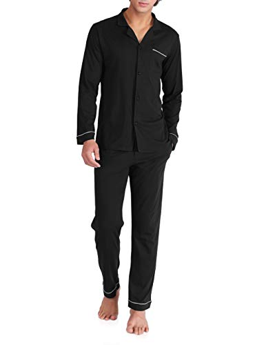 (David Archy Men's 100% Cotton Long Button-Down Sleepwear Pajama Set (XL, Black))