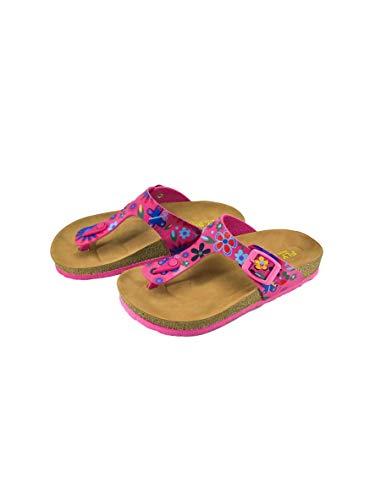 Victoria Kids Casual Buckle Thong T-Strap Sandals Flip Flop Platform Footbed Trends Shoes (3.5 US, Pink Floral) ()