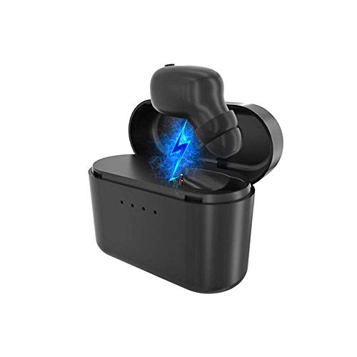 Mini Bluetooth Earbud, YiMiky Invisible Stereo Headset Bluetooth Earphone Handsfree Calling Single Ear Wireless Earbud With Mic Charging Box Noise Canceling Sports Headphone for Running Gym - Black