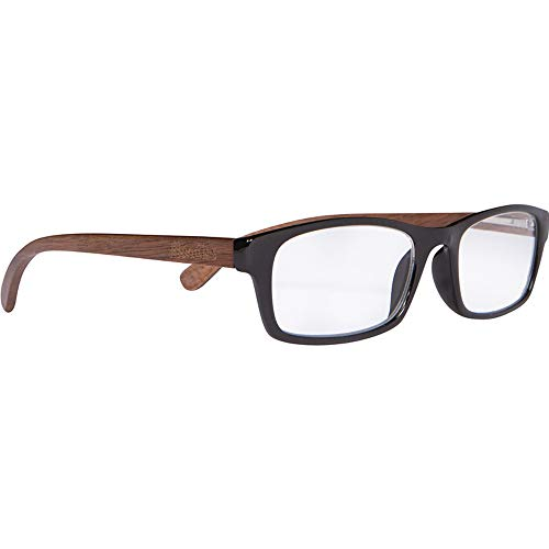 Woodies Walnut Wood Reader Glasses with Clear Magnified Lenses (Black, ()