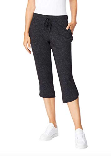 32 DEGREES Ladies Soft Fleece Knit Capri Pants (Small, Black Space Dye)