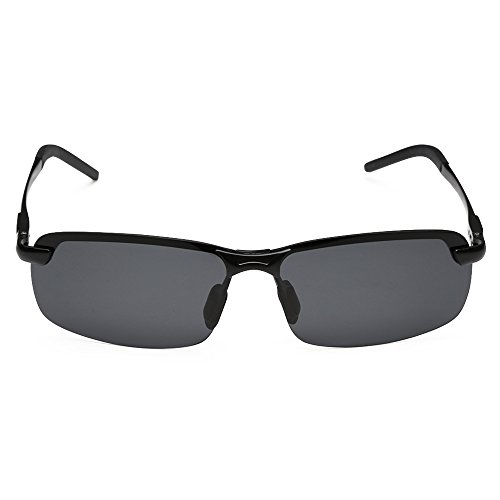 ROCKNIGHT Men Polarized UV400 Rimless Ultralight Rectangular Sunglasses Mirrored Lens Black-Grey Outdoor - Hut Sunglass Sales