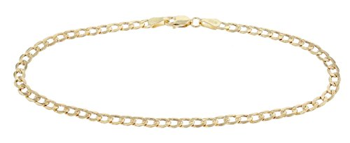 (7 Inch 14k Yellow Gold Hollow Curb Cuban Chain Bracelet and Anklet, 0.14 Inch (3.5mm))