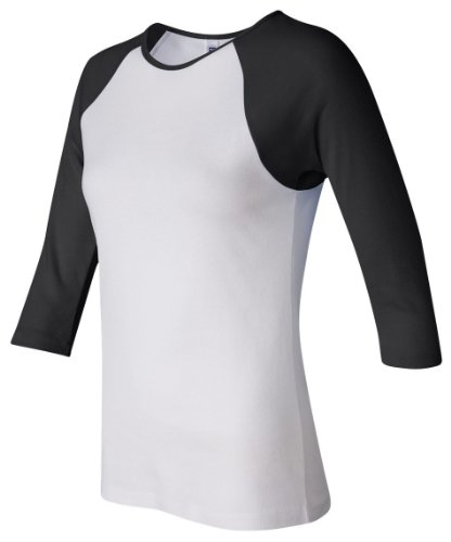Bella+Canvas Ladies' Baby Rib 3/4-Sleeve Contrast Raglan Tee - White/ Black - 2XL