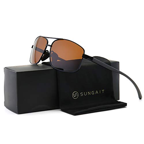 SUNGAIT Ultra Lightweight Rectangular Polarized Sunglasses UV400 Protection (Black Frame Brown Lens, 62) Metal Frame 2458 ()