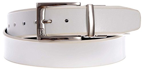 PGA TOUR Men's Reversible Leather Belt with Pull and Twist Swinger Logo Buckle (White, Black, (White Reversible Belt)