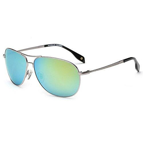 400 Green Gafas UV Aviator Marco SunglassesMAN Protección Yxsd Color polarizadas Sol de Blue de para Hombre 7RZqF