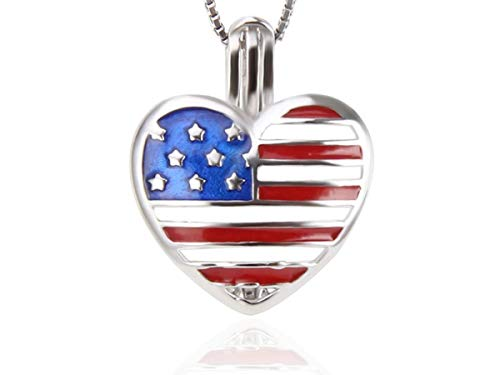 925 Sterling Silver American Flag Patriotic 4th July Independence Day Cage Pendant Necklace Heart - Pearl Akoya Brooch