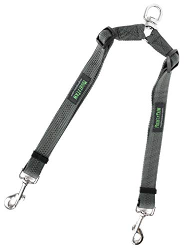 Mighty Paw Double Dog Leash, Adjustable Length Two Dog Lead, Premium Quality No-Tangle Leash for 2 Dogs (No Handle, Grey)