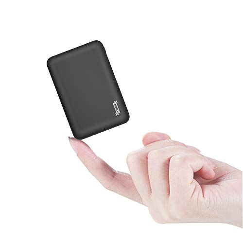 Slim Power Bank Ultra Thin,TONV 2.1A Mini External Phone Battery Pack Small Dual Outlet, Emergency Phone Power Backup with 3 Output for Android Micro USB and Type C (Black)