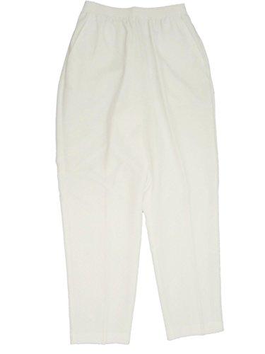 Alfred Dunner Classics Elastic Waist Pants White 10P S