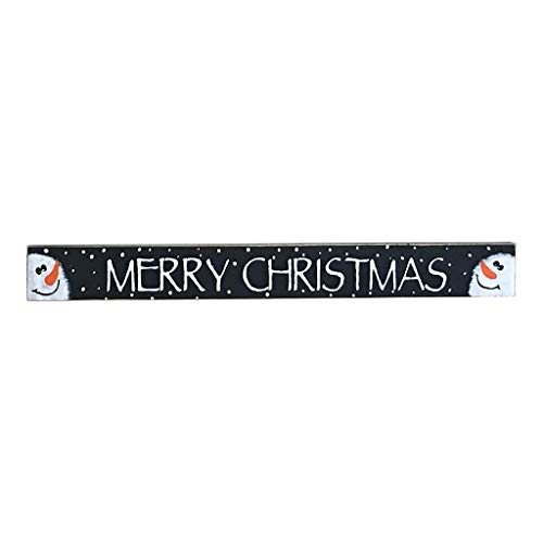 - New2UDesign Merry Christmas Wooden Shelf Sitter Featuring Hand- Painted Snowmen- 2