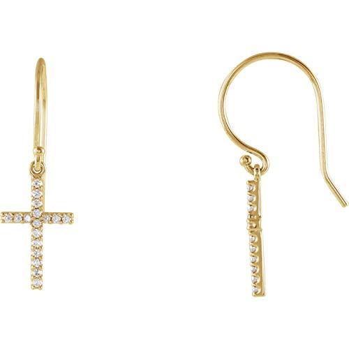 (14K Yellow Gold 1/6 CTW Diamond 24.7x8mm Cross French Wire Earrings)