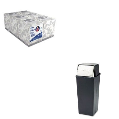 KITKIM21271SAF9893 - Value Kit - Safco Reflections Fire-Safe Push Top Receptacle (SAF9893) and KIMBERLY CLARK KLEENEX White Facial Tissue (KIM21271)