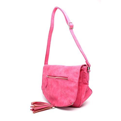 Angkorly Compra Cómodo Por Bag Mujer Práctico Bandolera Mano Clutches Envelope Regalo Elegante Cada Flexible Pompom Día Tote Idea Fleco Bolsa Fushia De Moda qCgqr