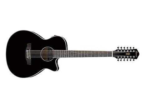 Ibanez acústica de 12 cuerdas guitarra eléctrica aeg1812ii BK Negro Acabado: Amazon.es: Instrumentos musicales