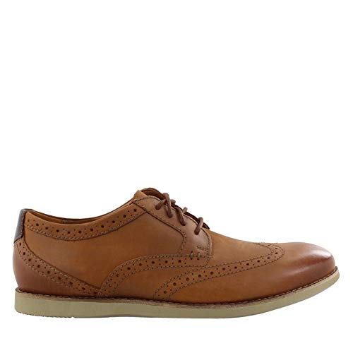 Brown Leather Wingtip - CLARKS Men's Raharto Wing Oxford, Dark tan Leather, 080 M US