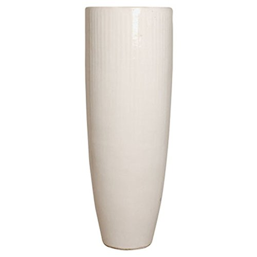 Tall Round Ceramic Planter - White by Emissary