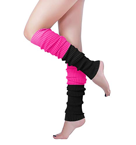 Long Leg Warmer, V28 Women's Men 80s Party Ribbed Knit Dance Sports (61co-bk+ro)