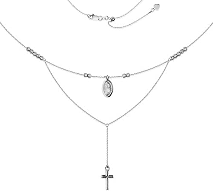 16 Inch 925 Sterling Silver Rhodium-plated Sparkle-Cut Beads With 2inch Ext Necklace
