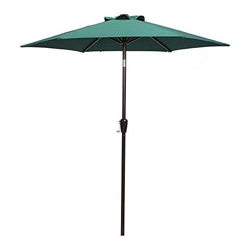 Domi Green (Patio Umbrella, 7' Outdoor Table Market Umbrella with Push Button Tilt/Crank, 6 Ribs, Dark Green by Domi Outdoor Living)