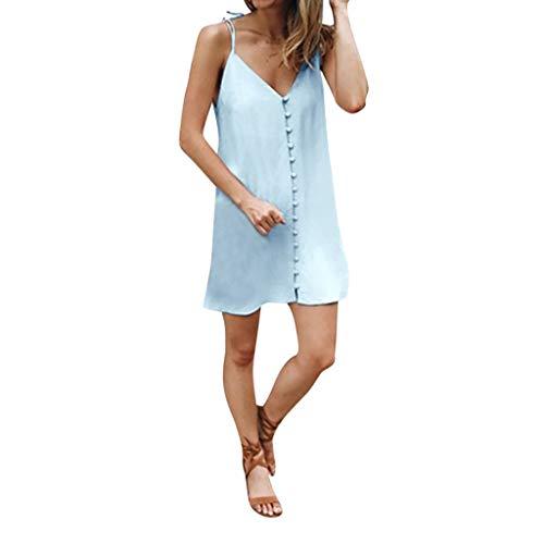 2019 New Chiffon Mini Dress Fashion Sexy Women's Strap Deep V Button Knee Length Dress Skirt Solid Beach Part Dress Blue