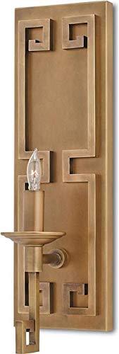 Currey & Company Wall Sconce Greek Key 1-Light Antique Brass Socket