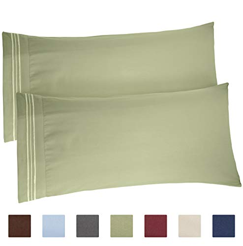 CGK Unlimited Sage Green Pillow Cases - King Size Set of 2 - Soft and Comfortable - Fits 20x40 20x36 20x48 - Two Pack - Pillow Cover Insert