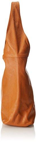 véritable bandoulière en cuir main in la à Orange Italy sac éclair 41x55x12cm femme CTM Cuoio dans Made fermeture à sac 100 7qOnB6Stw