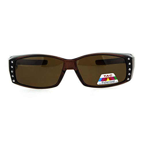 (Womens Rhinestone Rectangular Polarized Fit Over Glasses Sunglasses Brown)