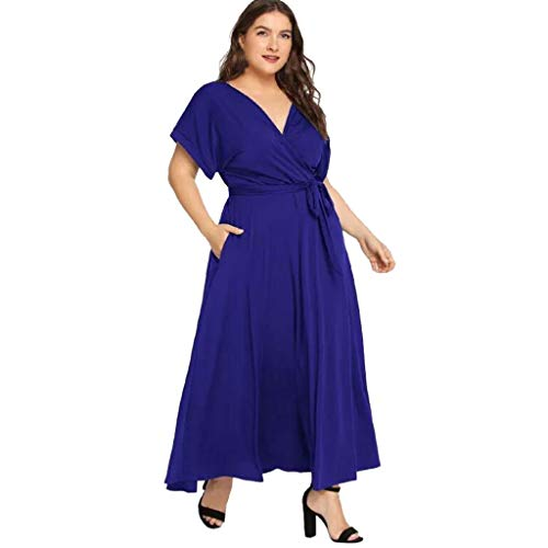BODOAO Women Plus Size Loose Maxi Dress Casual Solid V Neck Short Sleeved Summer Dress ()