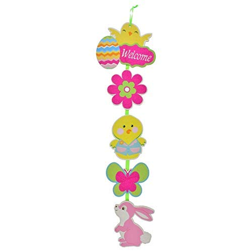 Hanging Happy Easter Bunny Sign Glittery Decorations – Boys Girls Party Spring Party Decor
